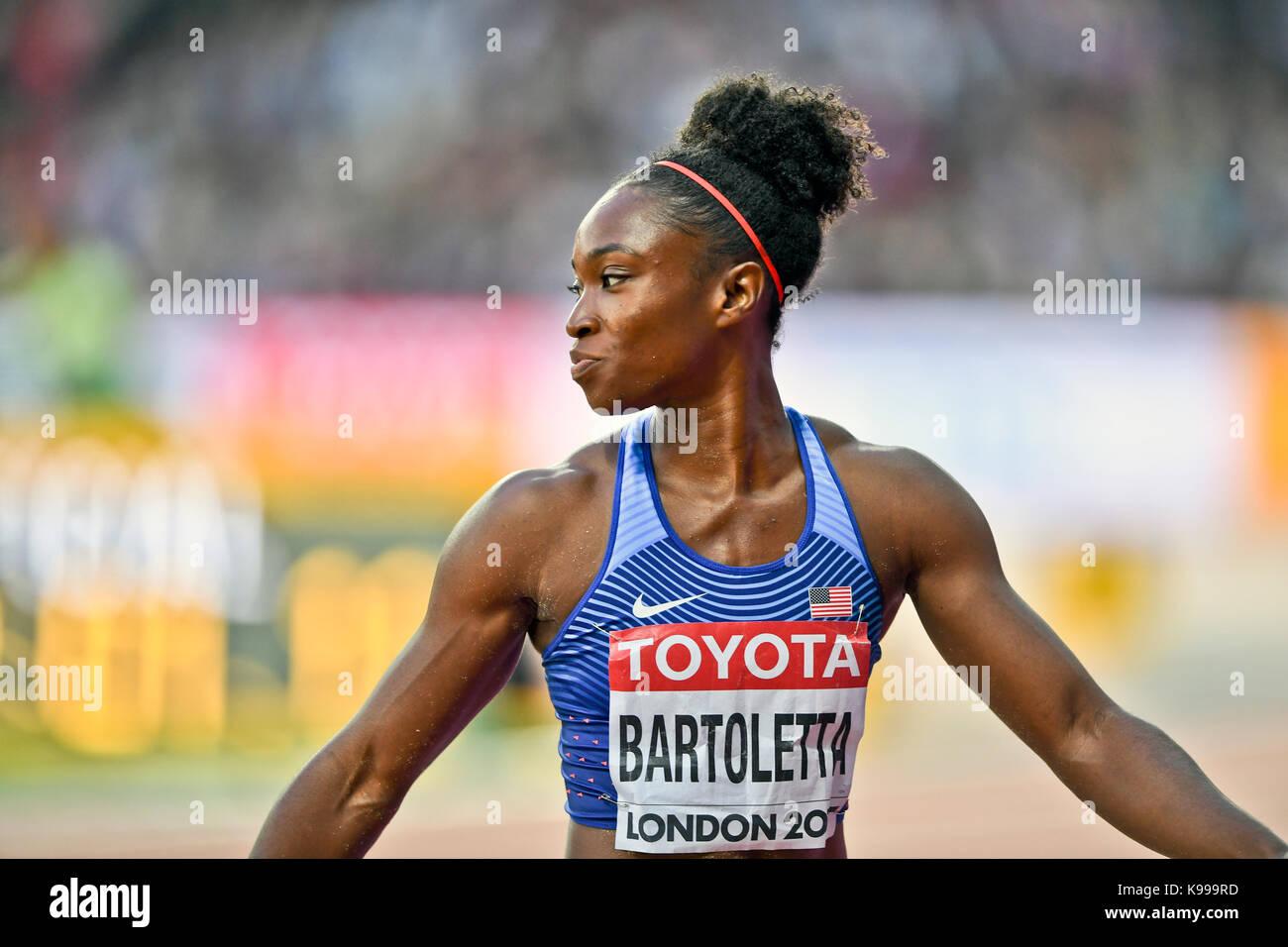 Tianna Bartoletta (USA) Long Jump -  IAAF Athletics World Championships - London 2017 - Stock Image