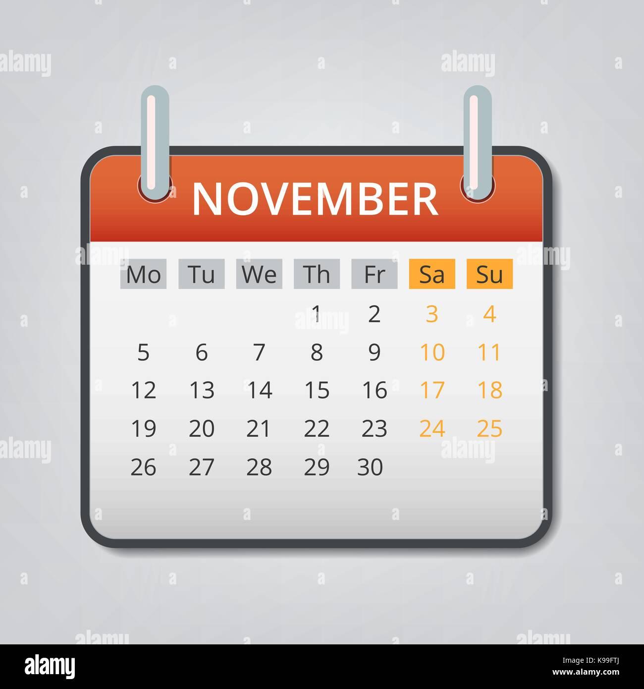 november 2018 calendar dates