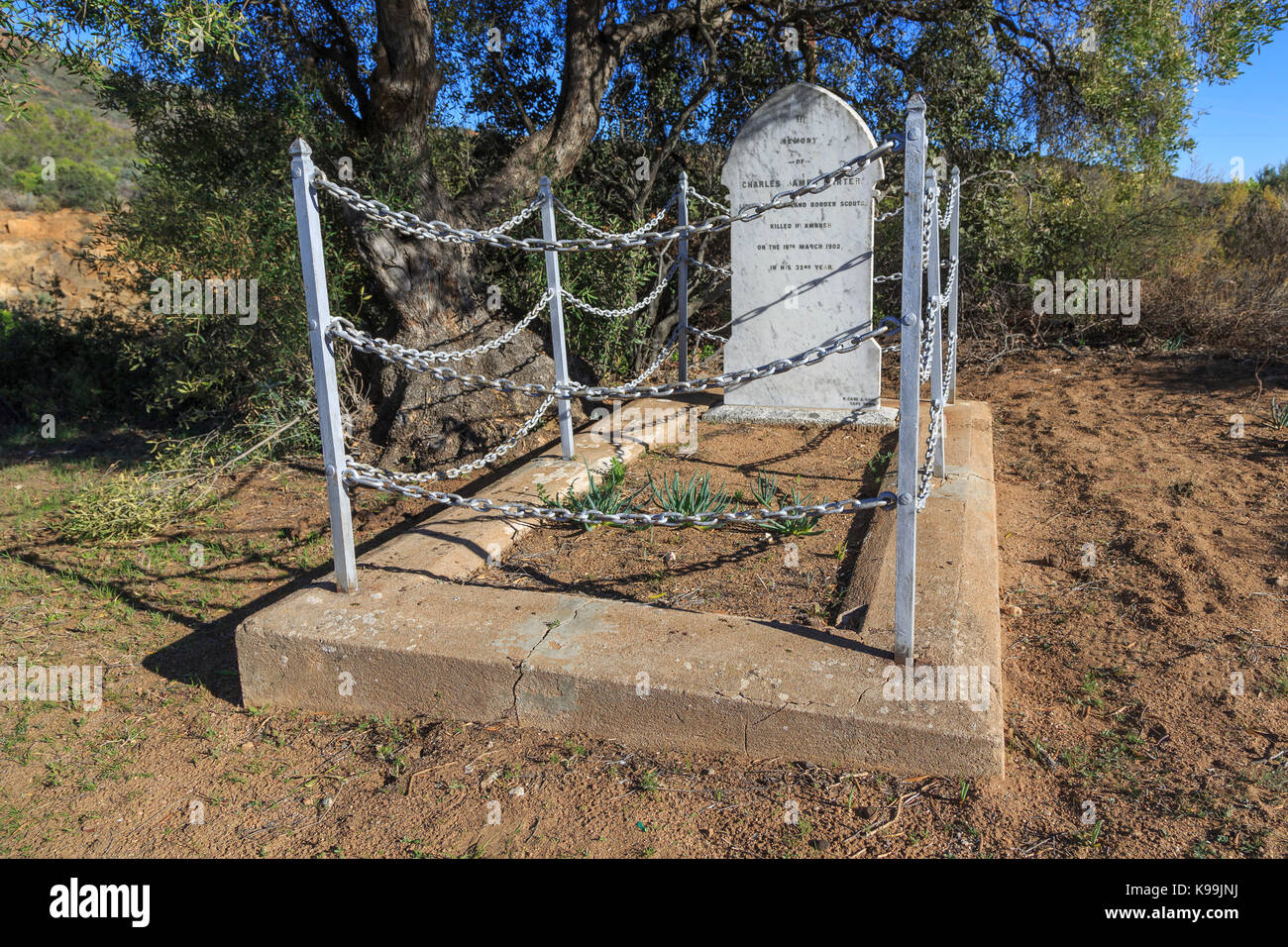 The grave of Charles James Darter, of the British Army.  Darter was killed in an ambush during the Boer War in 1902. Stock Photo