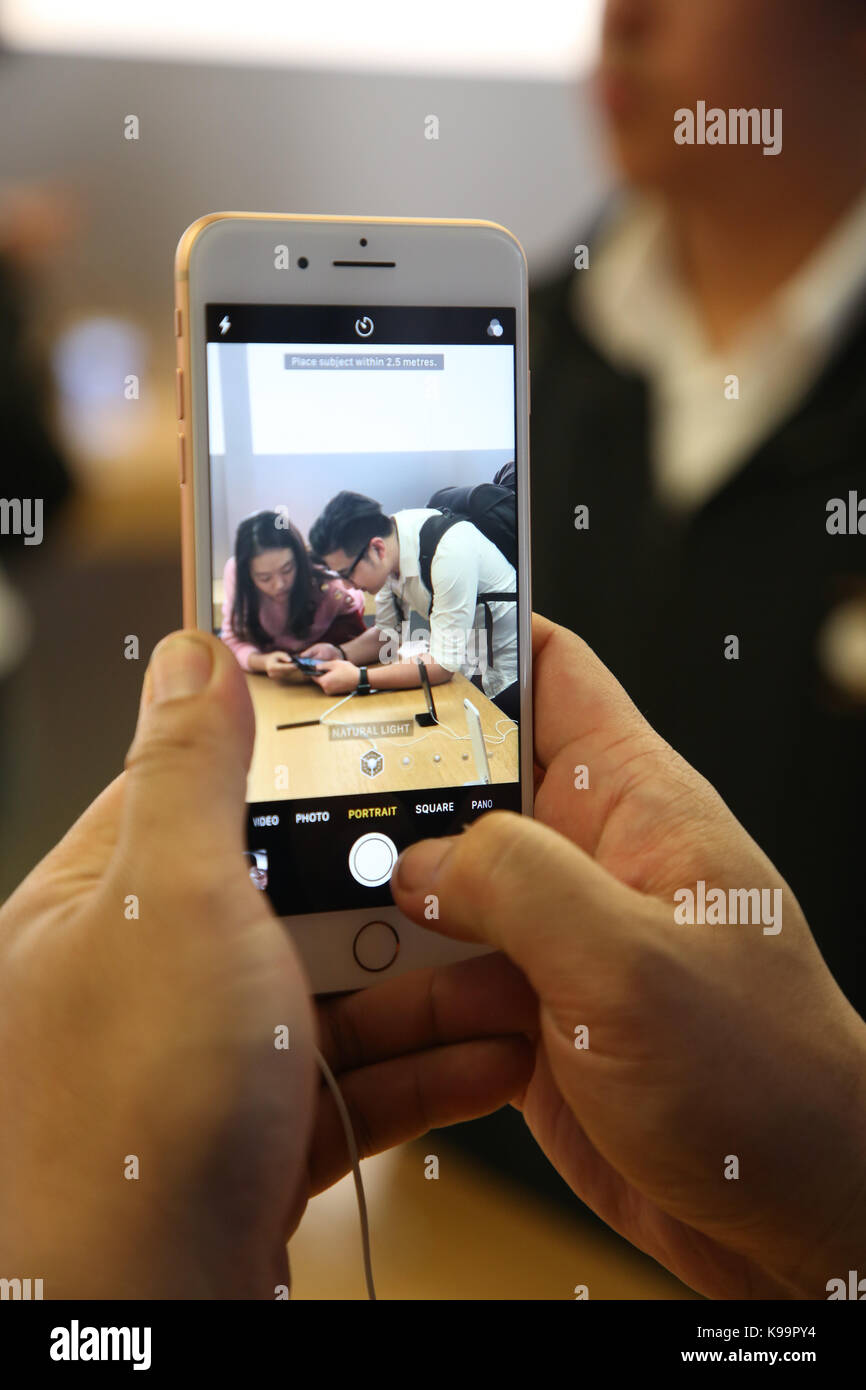 Sydney, Australia. 22 September 2017. Pictured is the new iPhone 8 Plus at the flagship Apple store on George Street, Stock Photo