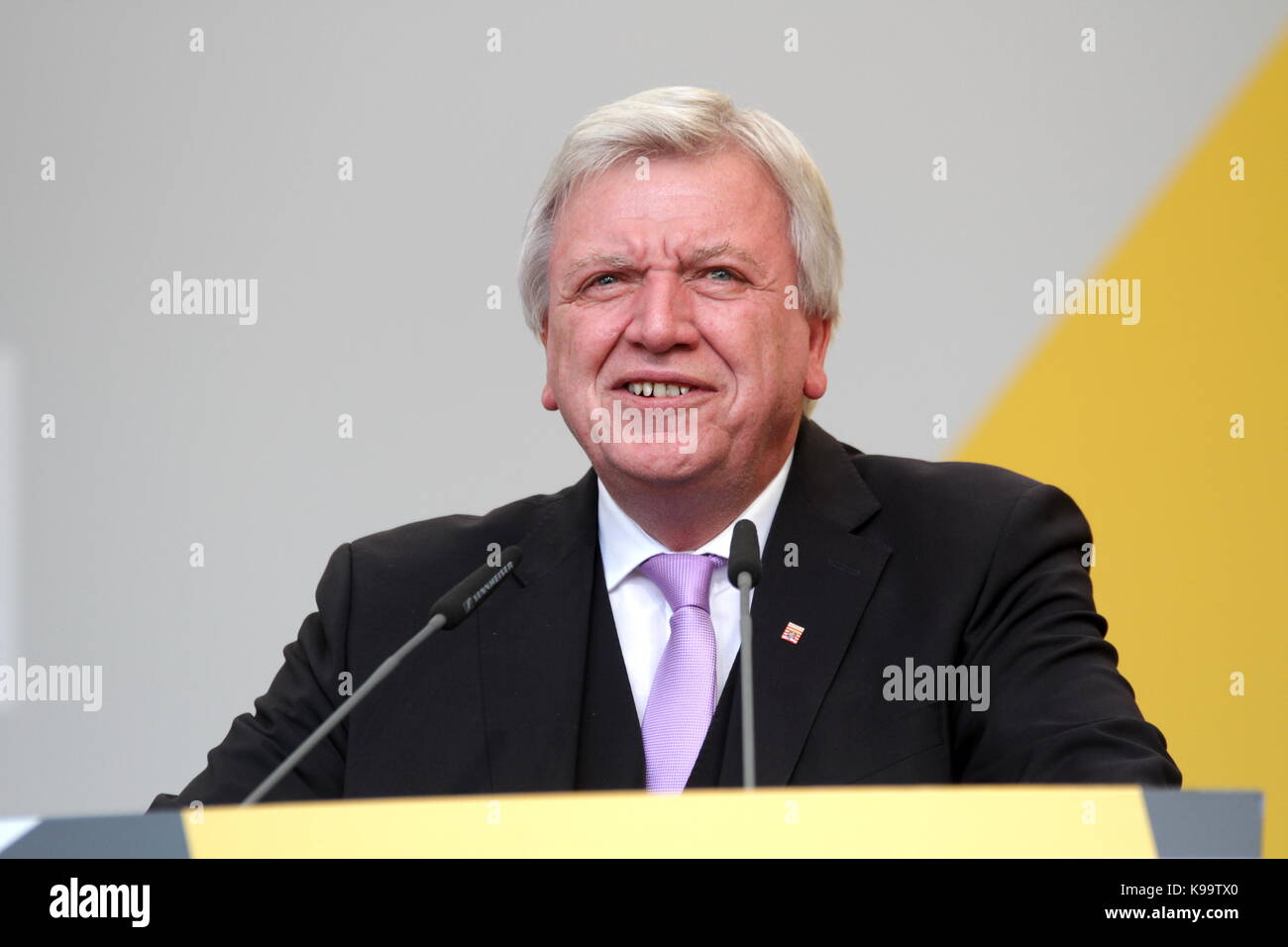 Giessen, Germany. 21st September, 2017. Volker Bouffier, prime minister of german state Hesse, speaks at election - Stock Image