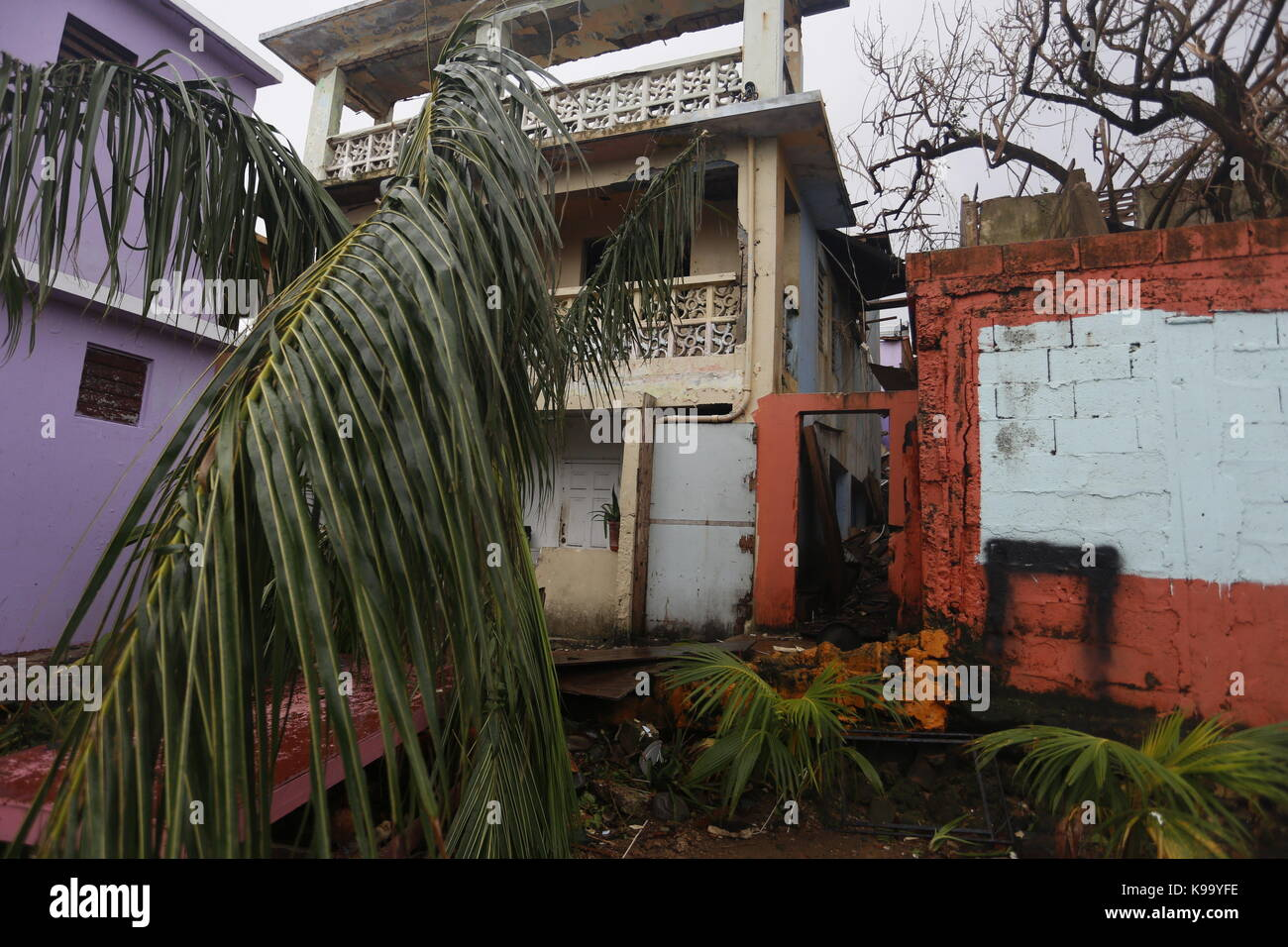 San Juan, Puerto Rico. 22nd Sep, 2017. View of the damages caused by Hurricane Maria, at La Perla neighbourhood, - Stock Image