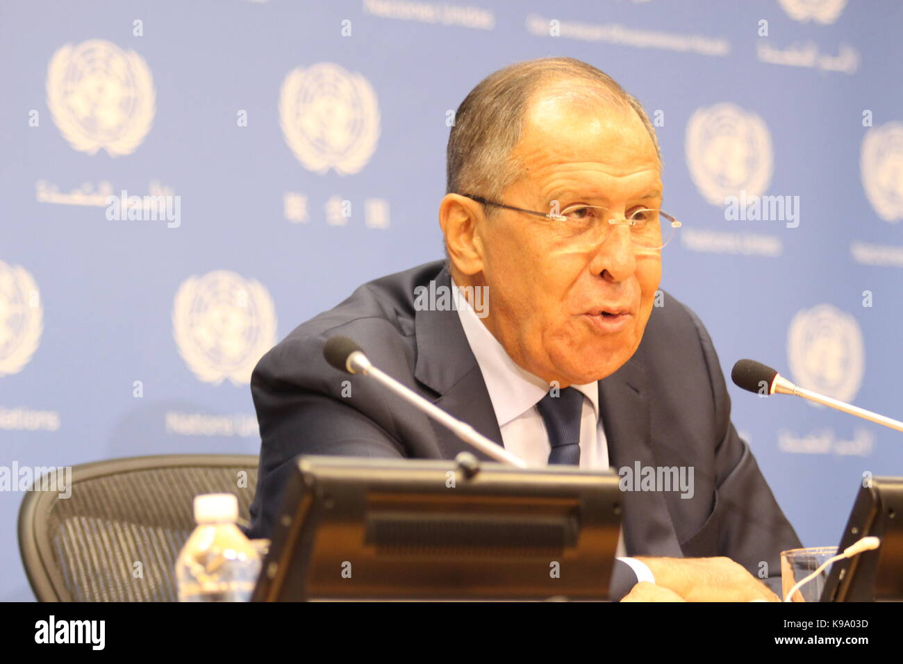 UN, New York, USA. 22nd Sep, 2017. Sergey Lavrov, Russia's Foreign Minister, briefed the press on Syria, North - Stock Image