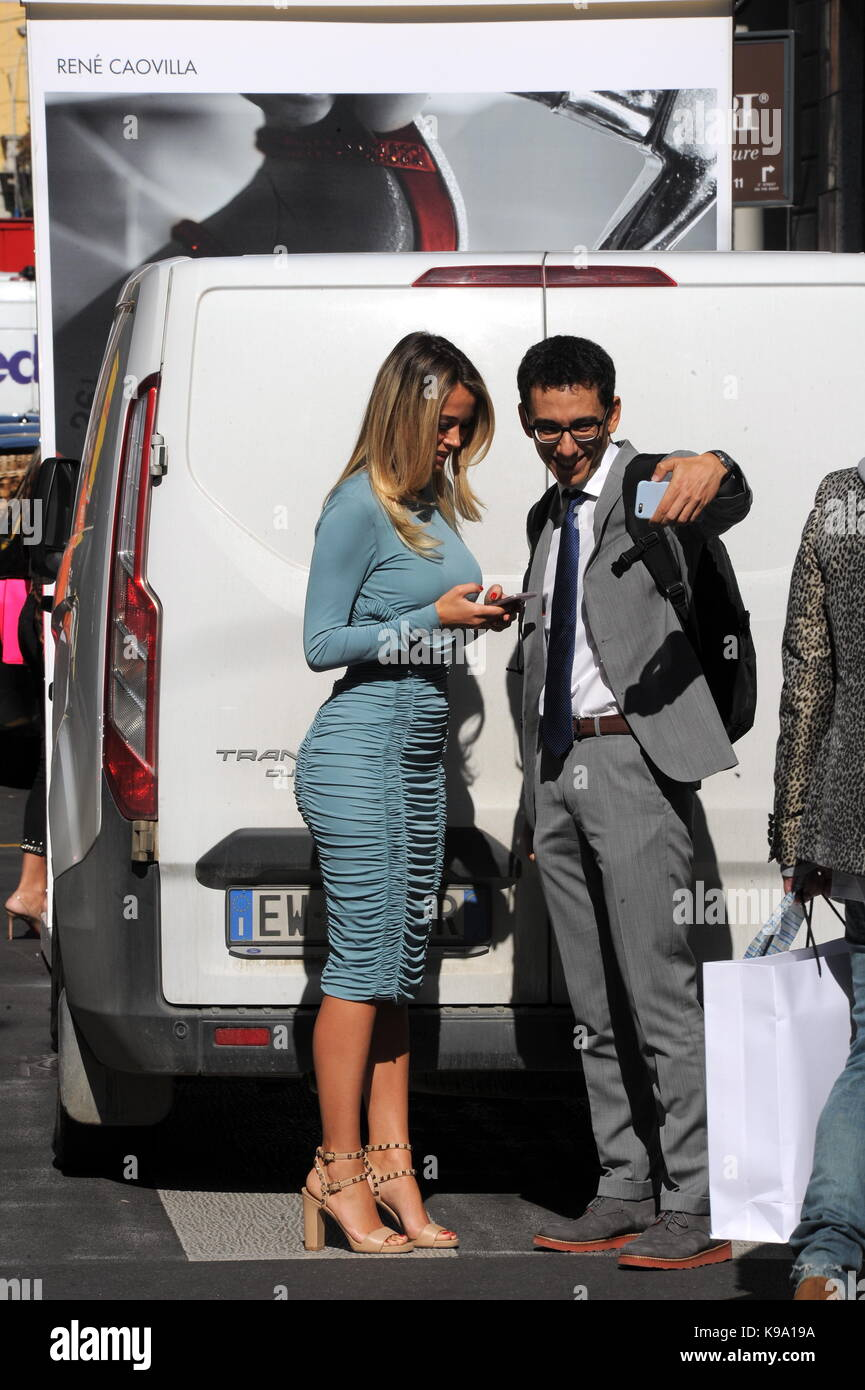 Milan, Diletta Leotta appointment at work center SKY journalist Diletta Leotta arrives in the center for a business - Stock Image