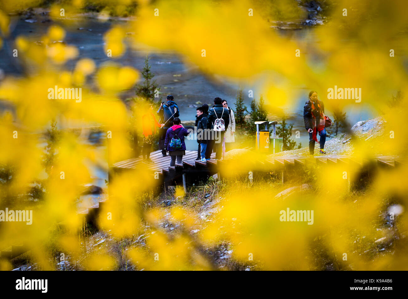 Kanas. 22nd Sep, 2017. Tourists visit the Kanas scenic area in northwest China's Xinjiang Uygur Autonomous Region, - Stock Image