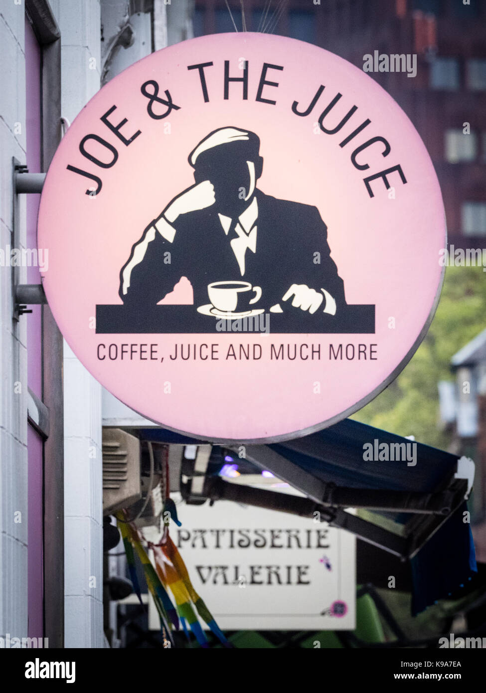 Joe and the Juice Cafe Restaurant Sign  in Old Compton Street, Soho, London, UK. Joe and the Juice is a chain originally - Stock Image