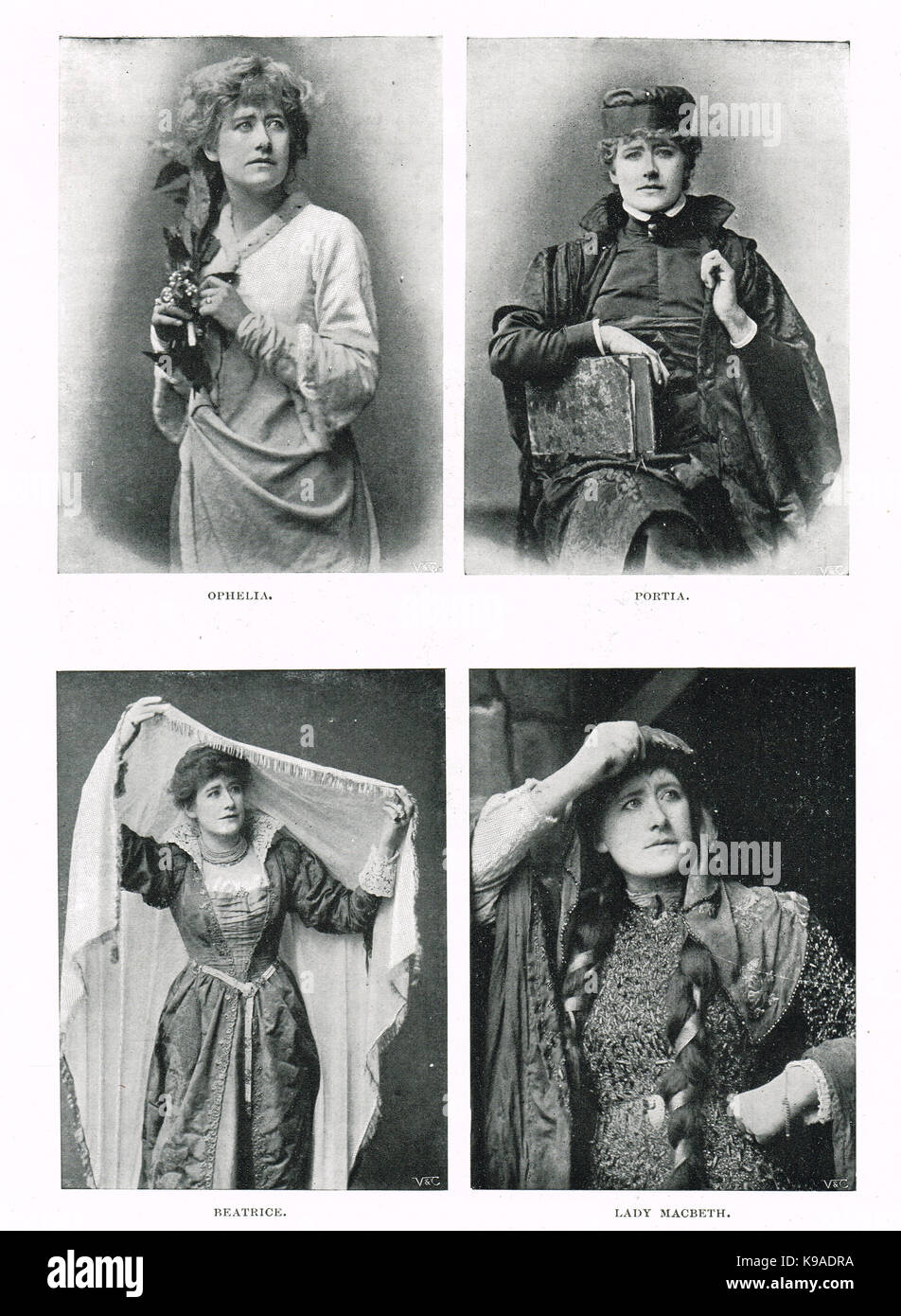 Ellen Terry in some of her famous Shakespearean roles, circa 1892 - Stock Image