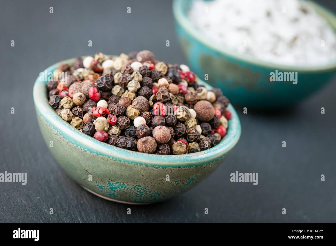 Sea Salt & Pepper Corn Condiment Still Lifes - Stock Image