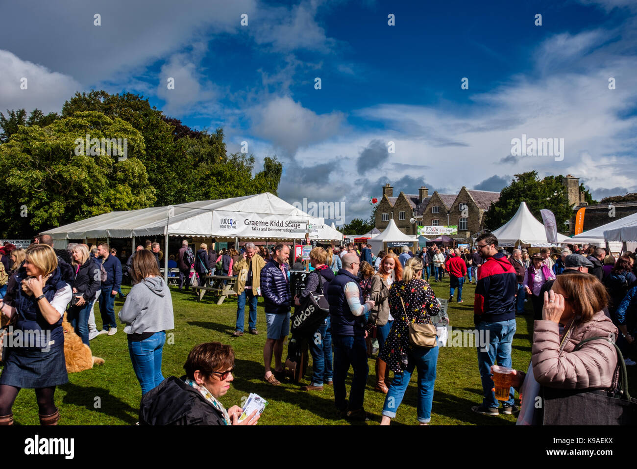 VIsitors at the 2017 Ludlow Food Festival, Ludlow, Shropshire, UK - Stock Image