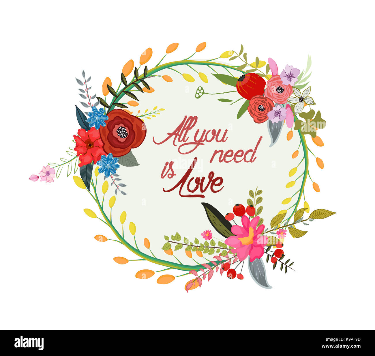 Beautiful Greeting Card Of Wreath And Hand Drawn Letters