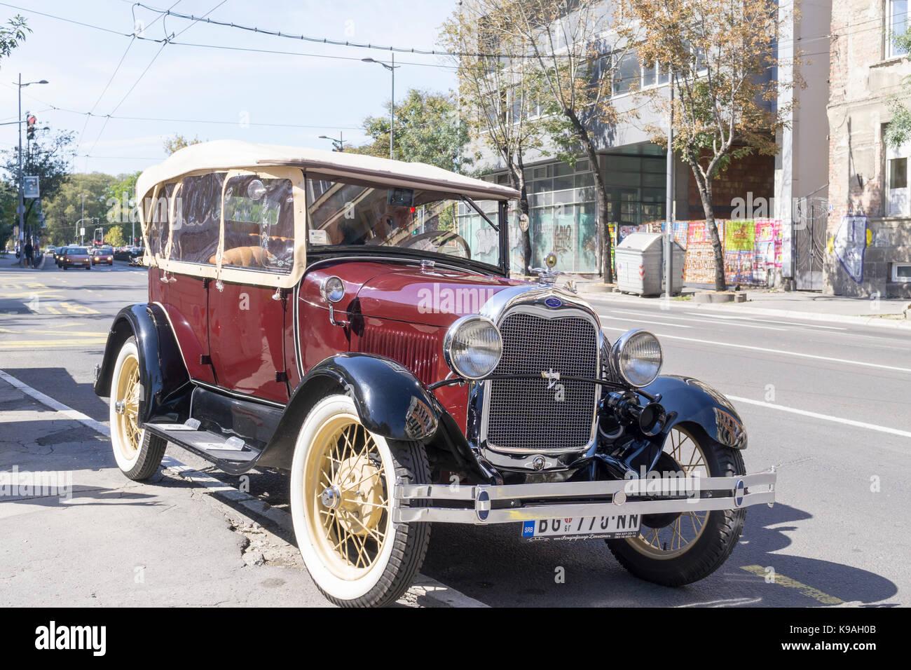 Ford Oldtimer car on Belgrade Street - Stock Image