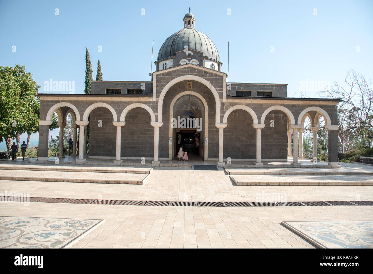 Church of the Beatitudes on the northern coast of the Sea of Galilee in Israel. The traditional spot where Jesus Stock Photo