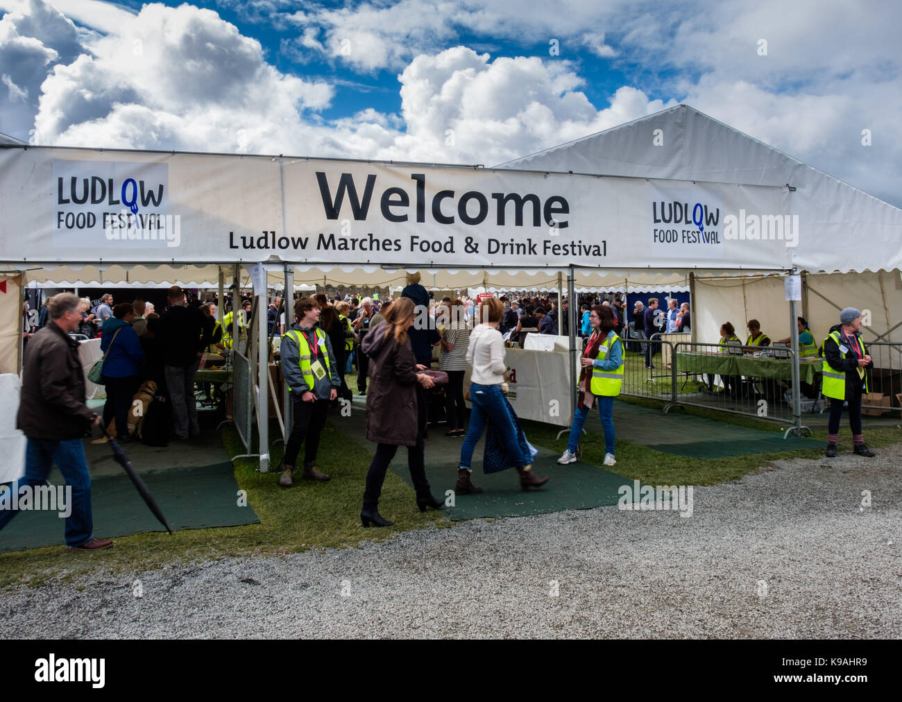 Entrance to the Ludlow Marches Food and Drink Festival, Ludlow Castle, Ludlow, Shropshire, UK - Stock Image