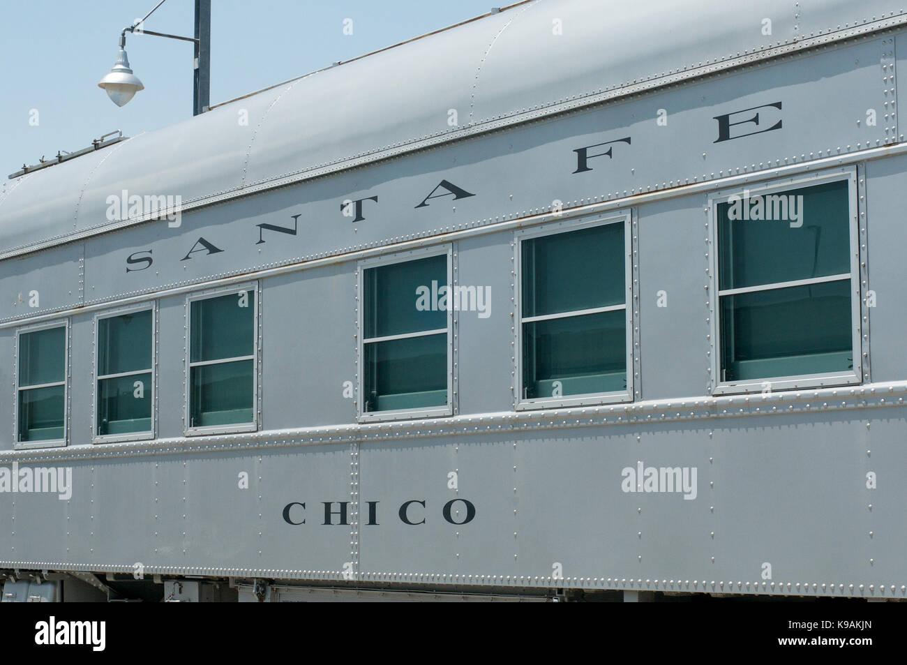 Sante Fe passenger car outside Kansas City Union Station, USA - Stock Image