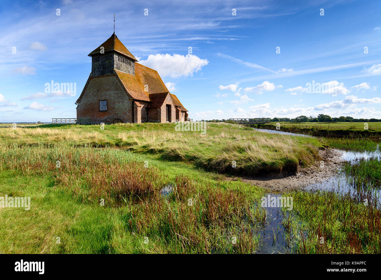 St Thomas a Becket Church at Fairfield on Romney Marsh in the Kent countrside - Stock Image