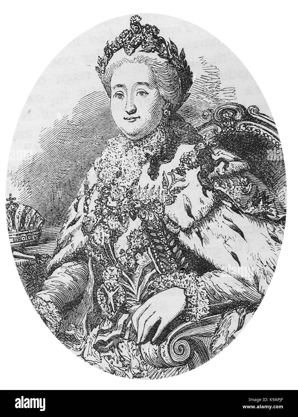 A 1910 printed portrait of   Catherine the Great (Catherine II of Russia) - formerly princess Sophie Anhalt-Zerbst Stock Photo