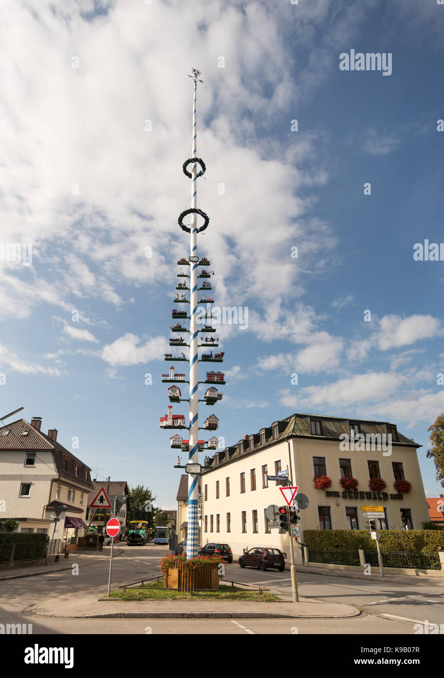 Traditional Maypole showing local craftsmens guilds, Aubing, near Munich, Germany, Europe. - Stock Image