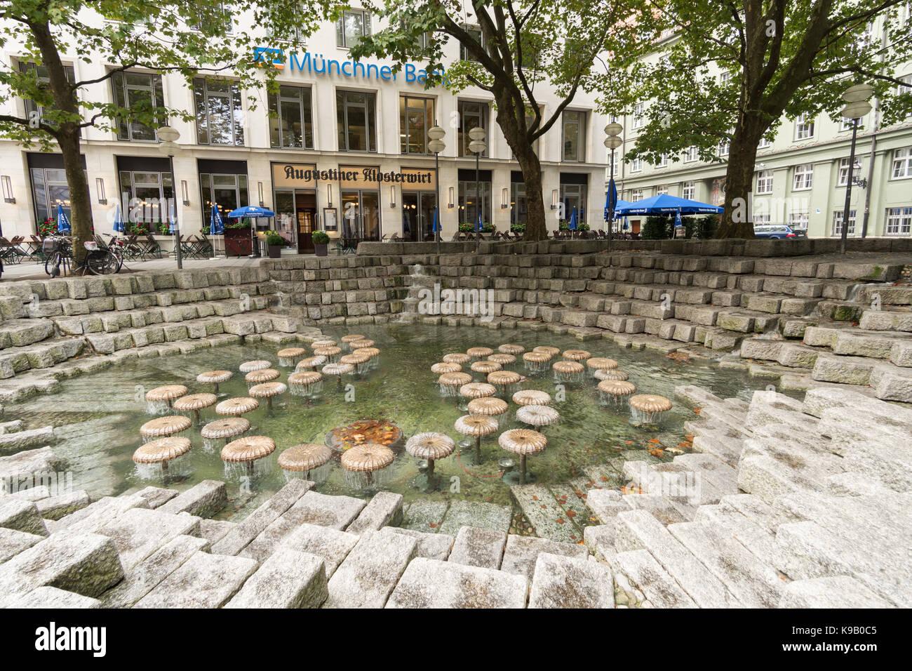 Water mushroom fountain, Munich, Germany, Europe - Stock Image