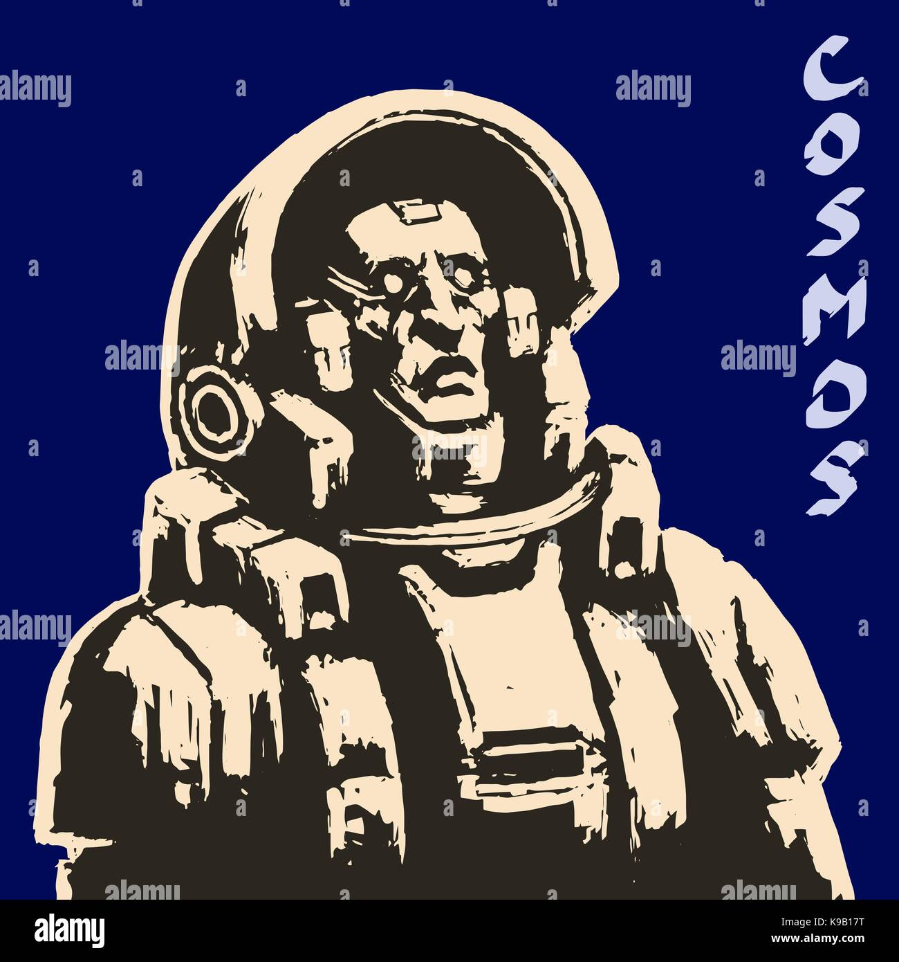 Spaceman sketch on black background. Cool science fiction spaceman cover. Serious character in space suit. Day of - Stock Vector
