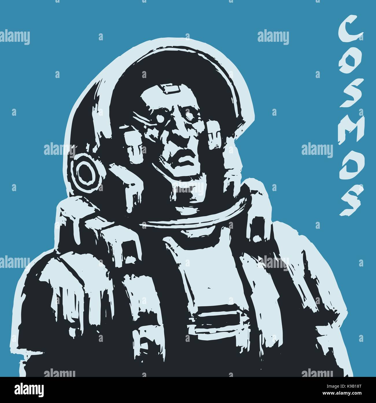 Astronaut sketch on black background. Cool science fiction spaceman cover. Serious character in space suit. Day - Stock Vector