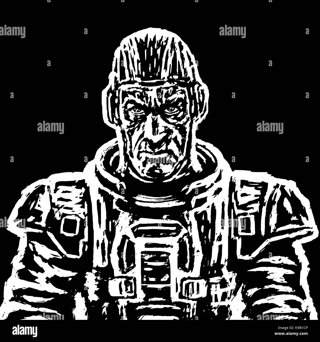 Old cosmonaut in a space suit without a helmet in black and white colors. Vector illustration. Heroic face. Science - Stock Image