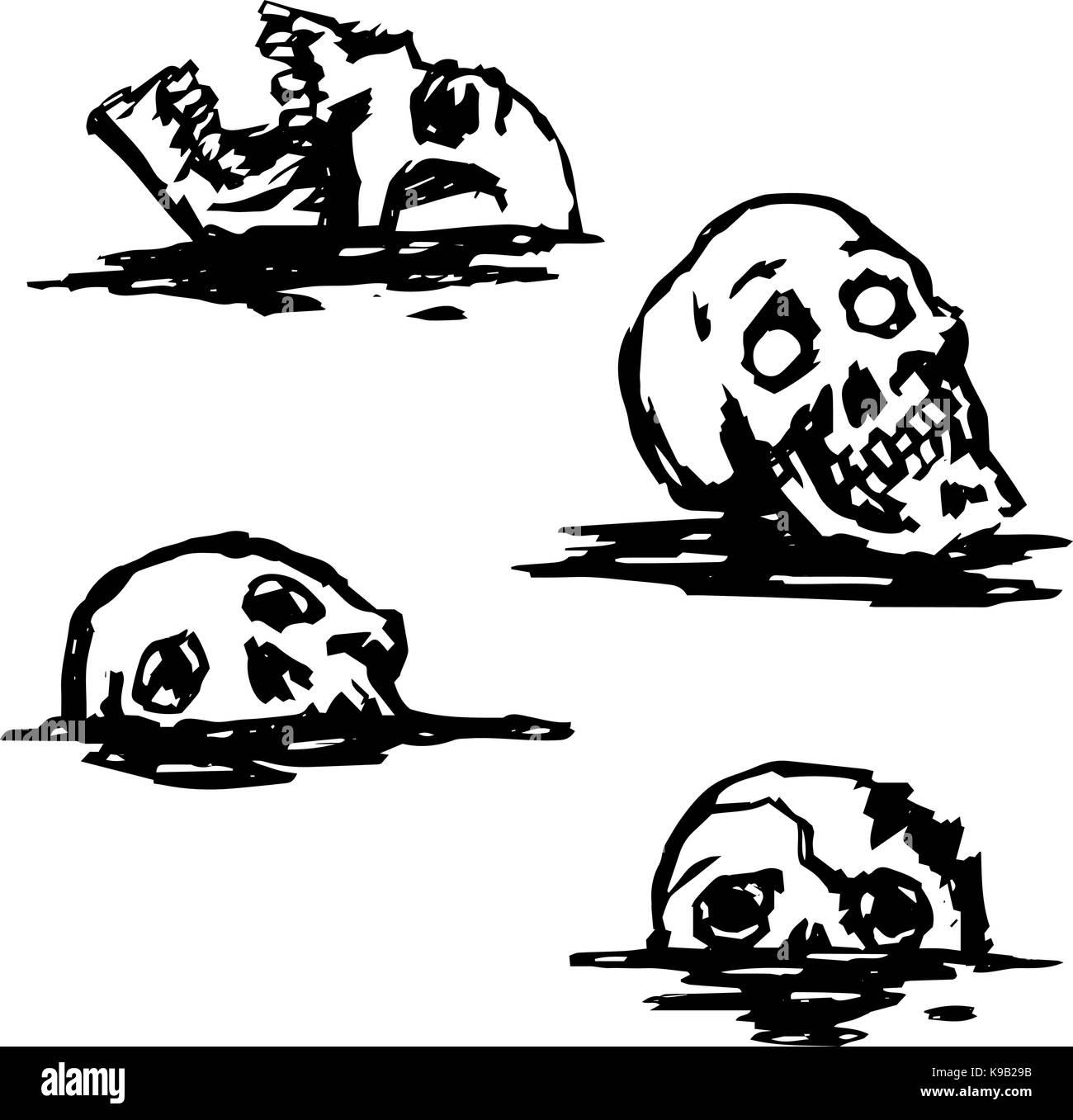 Graphic spooky skull set. Collection of horrors. Vector illustration - Stock Image
