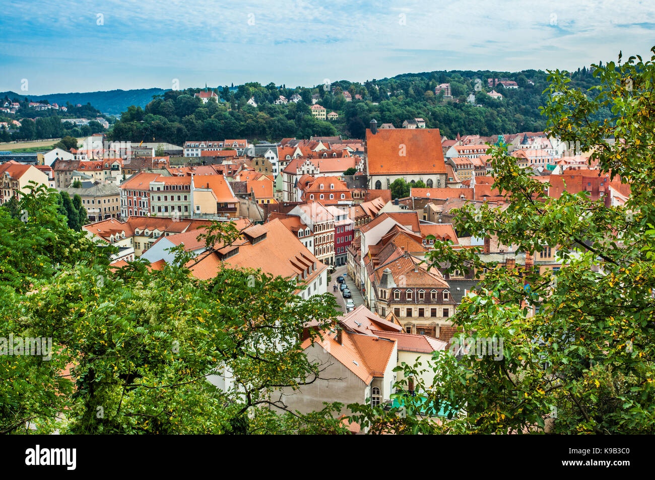 Germany, Saxony, Meissen, view over the old town roofs from Albrechtsburg castle hill - Stock Image