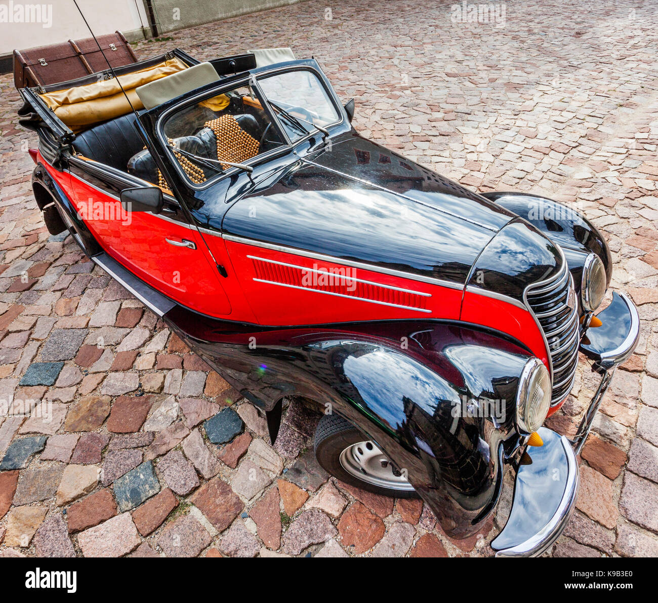 Germany, Saxony, Meissen, IFA convertible oldtimer on Cathedral Square, Albrechtsburg castle hill - Stock Image