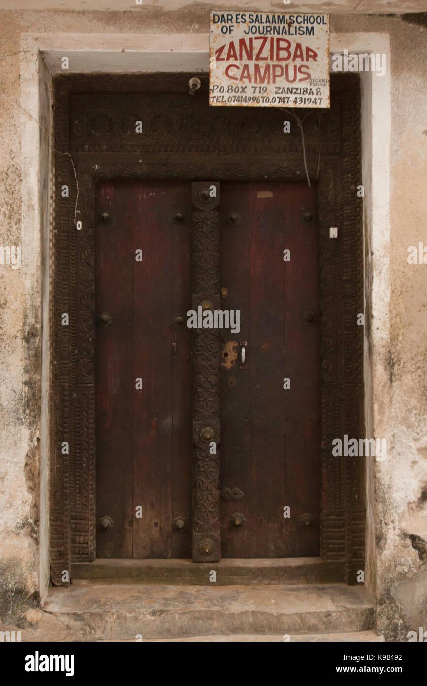Ornate Swahili door in Stone Town, Zanzibar, Tanzania, East Africa Stock Photo