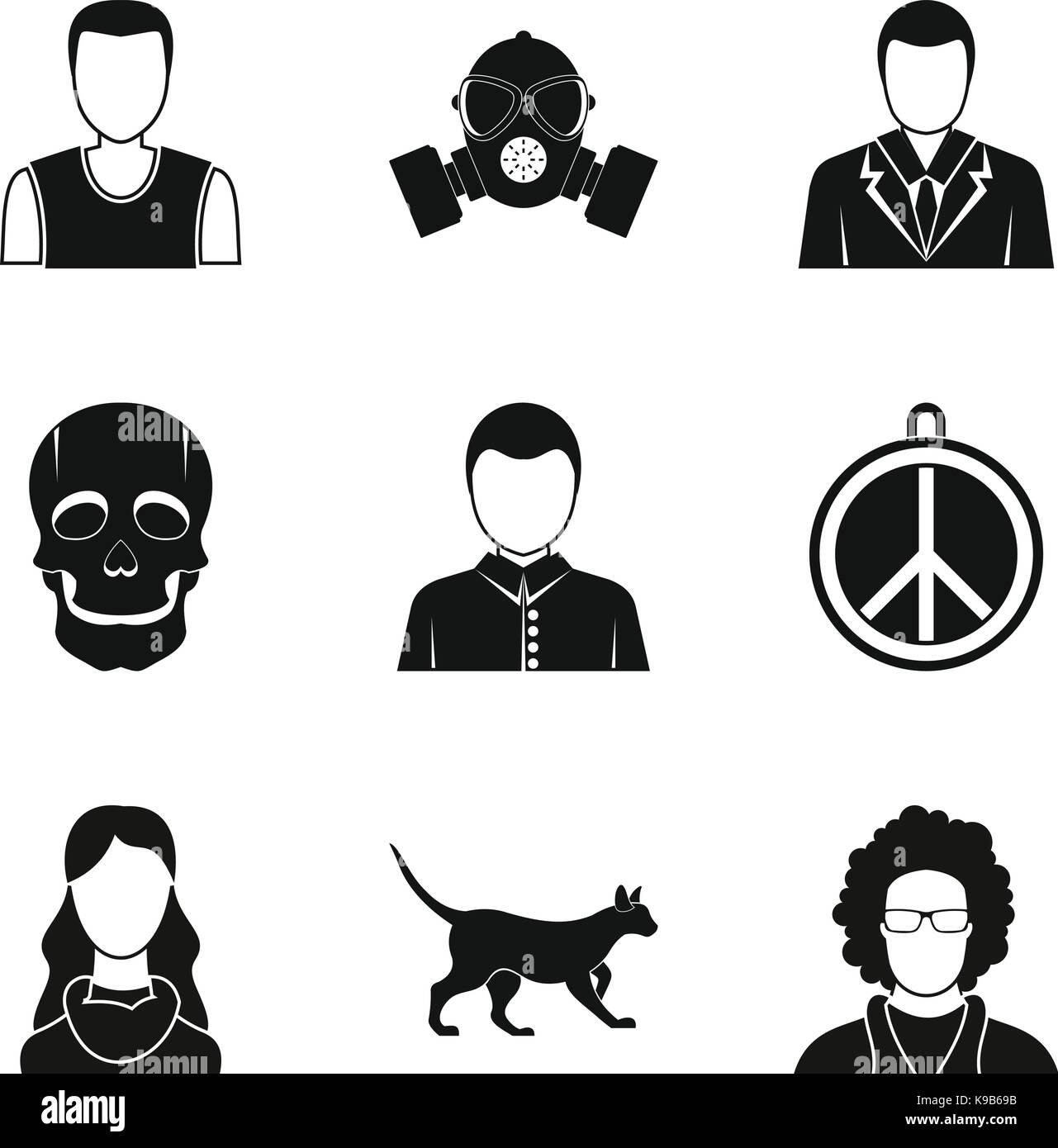 Pretender icons set, simple style - Stock Image