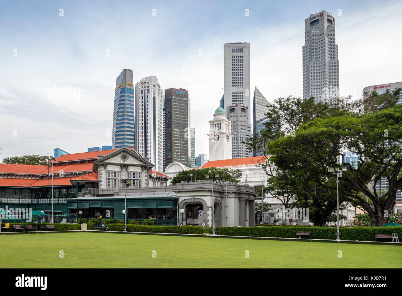 Singapore Cricket Club Clubhouse and Central Business District, Singapore - Stock Image