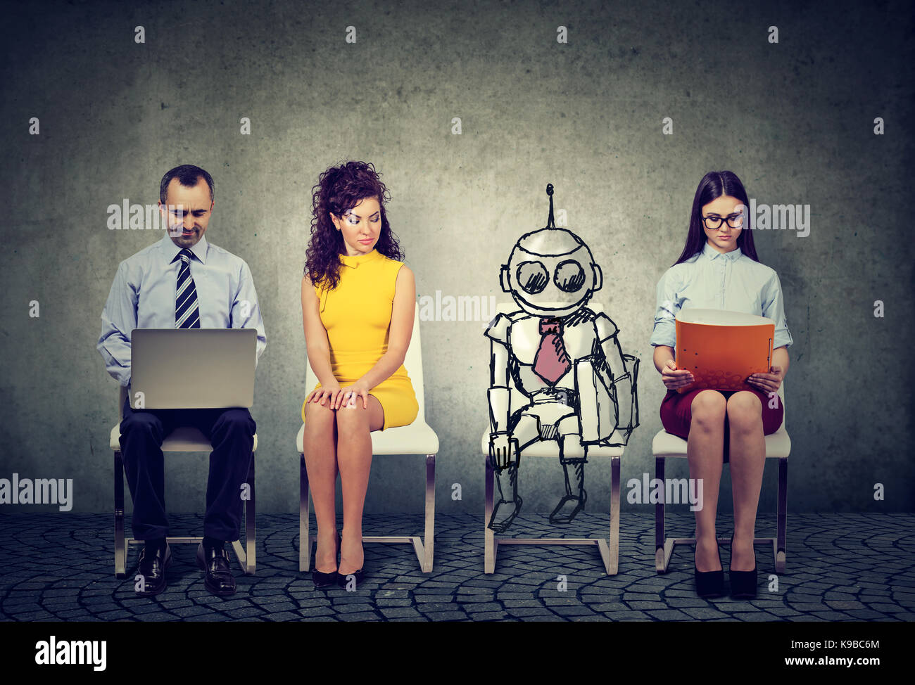 Cartoon robot sitting in line with applicants for a job interview - Stock Image