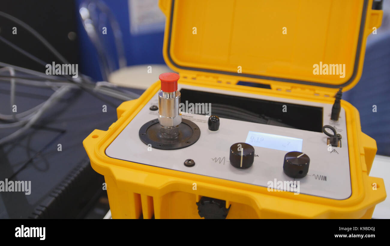 Industrial equipment on technology exhibition - the shaker calibration explosion proof portable - Stock Image