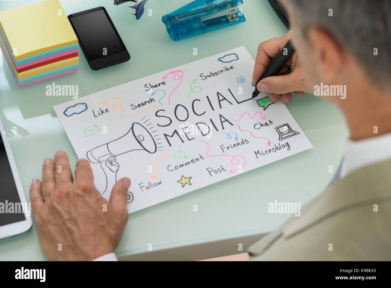 close up of businessman planning social media strategy on paper Strategic Planning Process Diagram