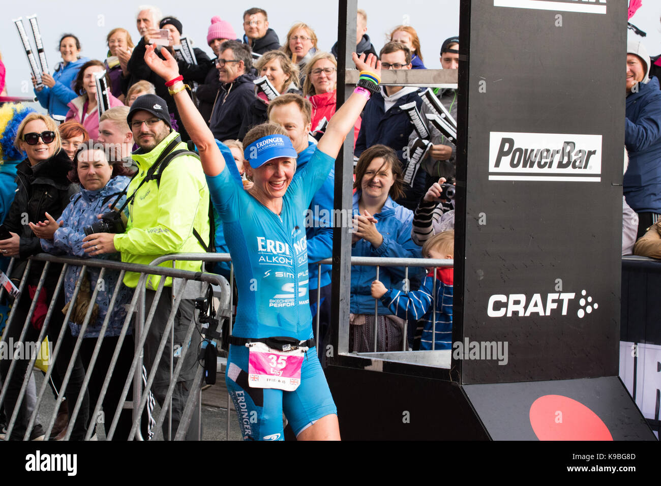 Ironman Wales, Tenby, Pembrokeshire, UK.  10 September 2017.  Lucy Gossage of UK comes first in the women's - Stock Image