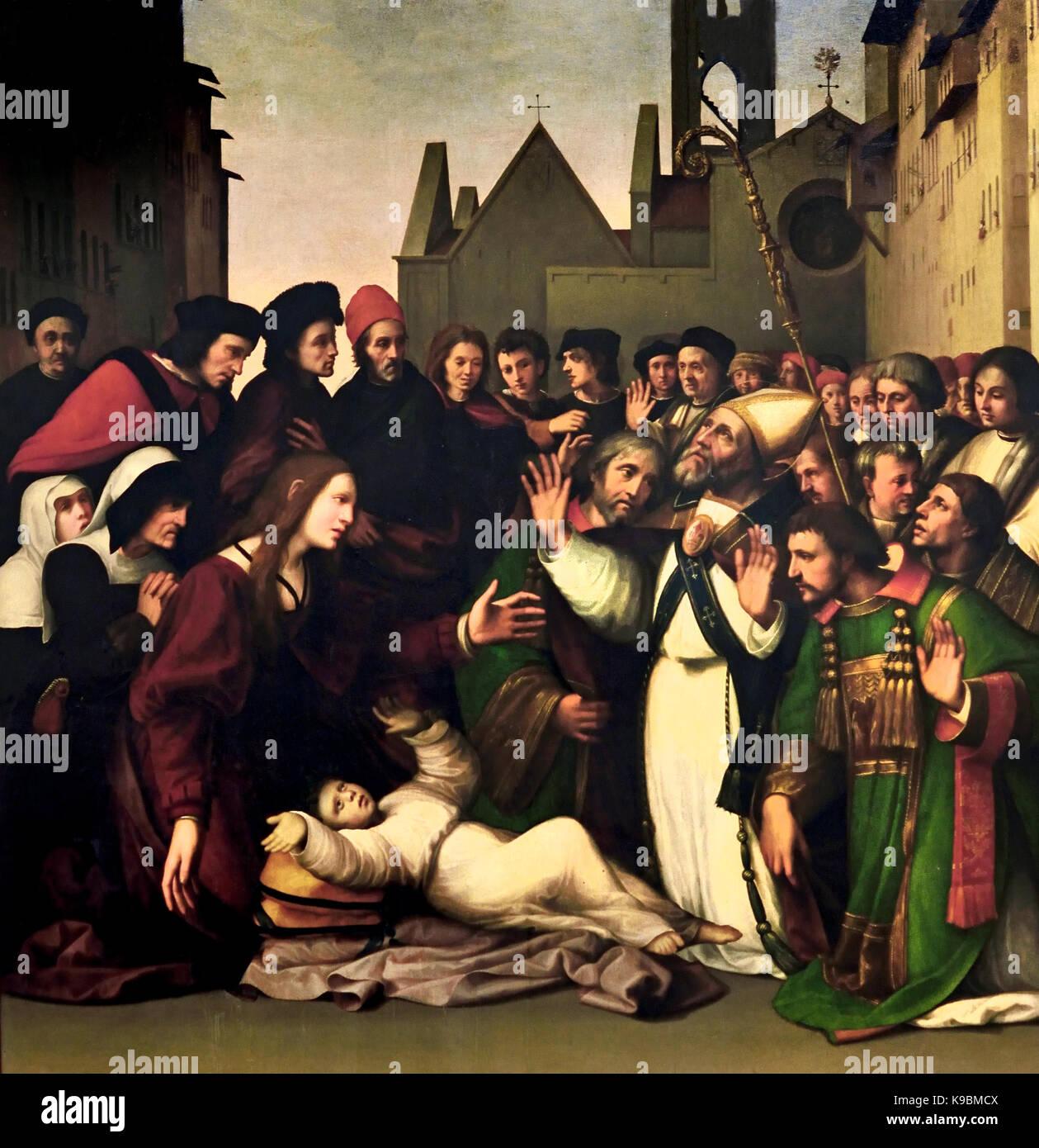 Saint Zenobius raises a Boy from the Dead by Ridolfo Ghirlandaio (or Ghirlandajo) 1483 – 1561 was an Italian Renaissance - Stock Image