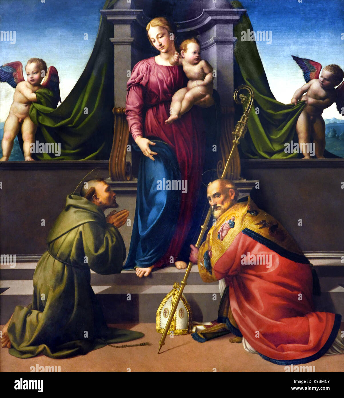 Madonna and Child with Saint Francis and Zenobius by Francesco Granacci 1469 – 1543 was an Italian painter of the - Stock Image