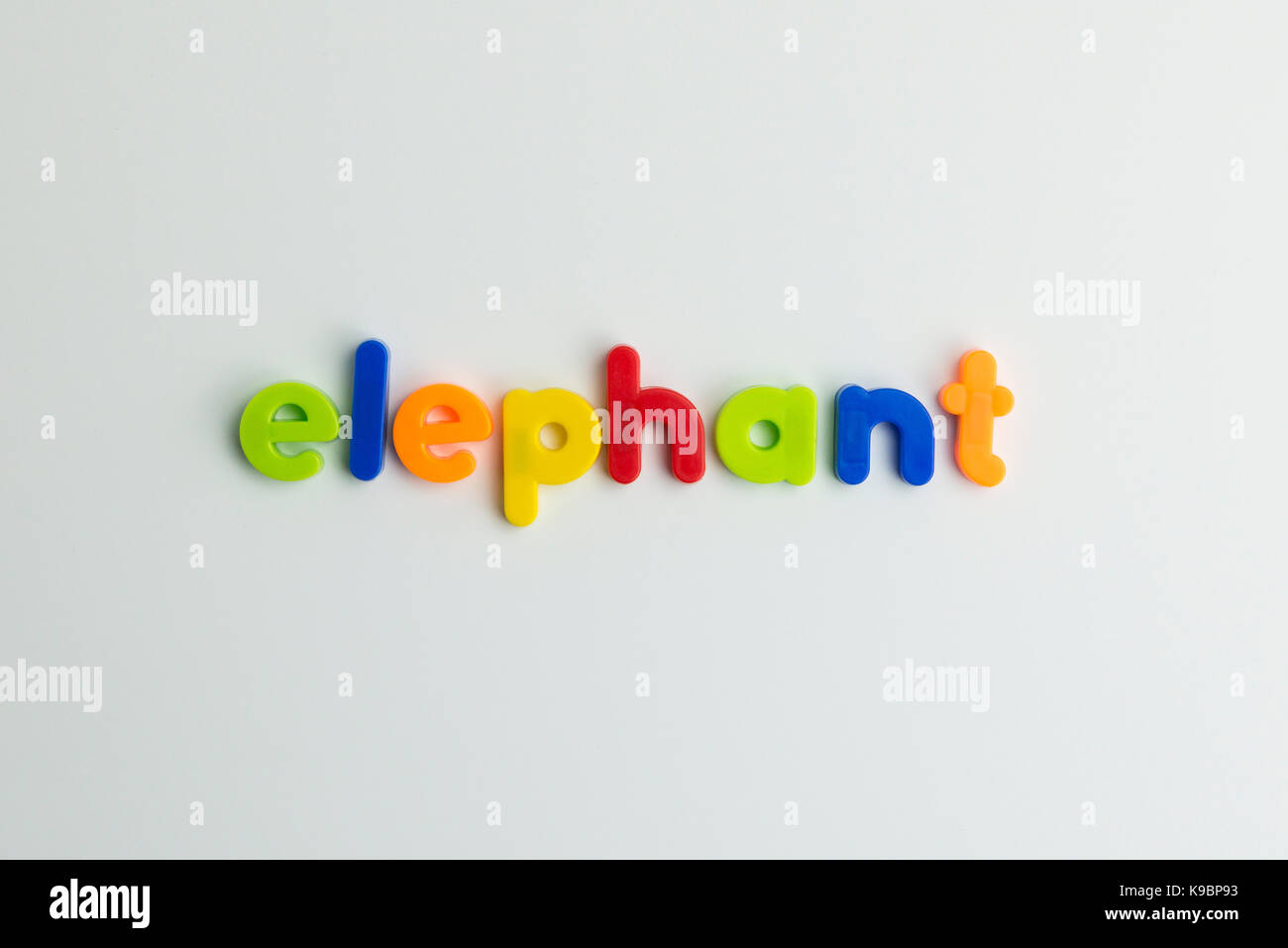 elephant word in colourful children's letters - Stock Image