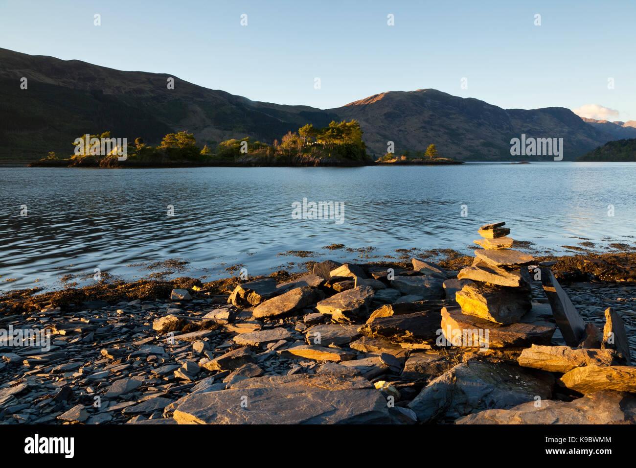 Eilean Munde buriel Island, Loch Leven, Ballachulish, Glencoe, Scotland, UK - Stock Image