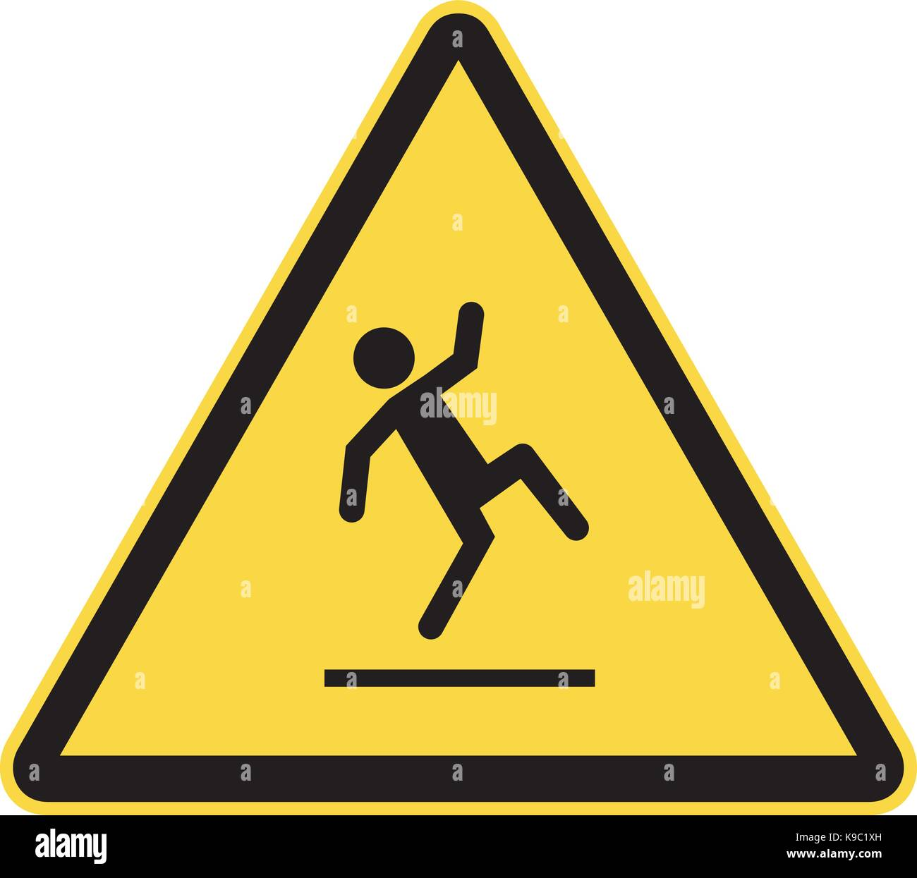 slippery floor warning sign - Stock Image