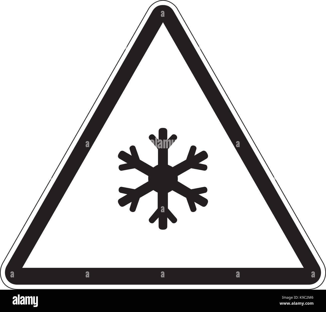 Low temperature warning sign illustration - Stock Vector