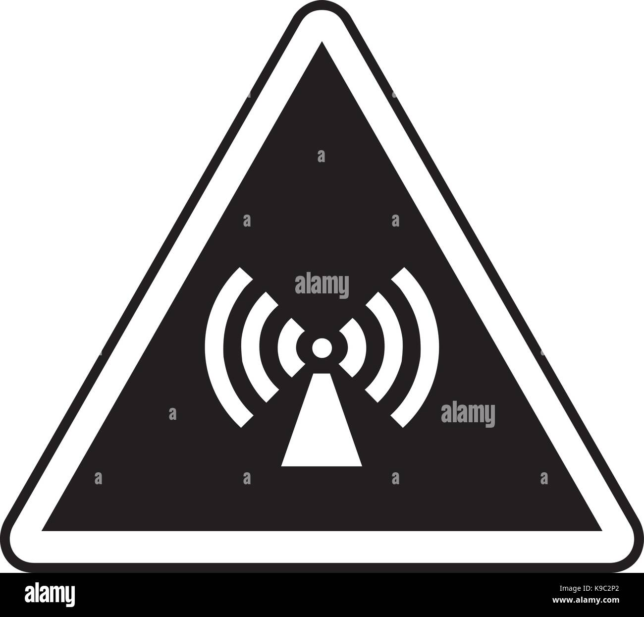 Non ionizing radiation warning sign - Stock Vector