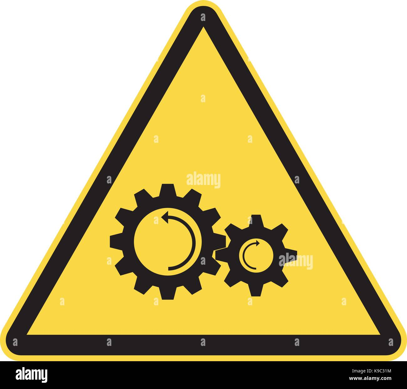Rotating and moving parts warning signs Stock Vector