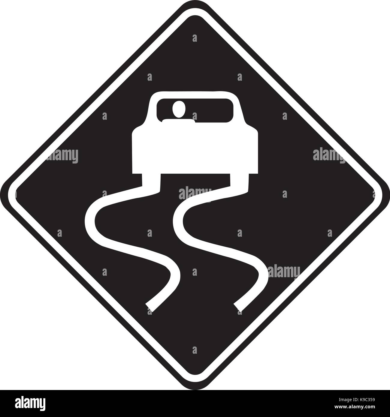 Slippery road ahead warning sign - Stock Image