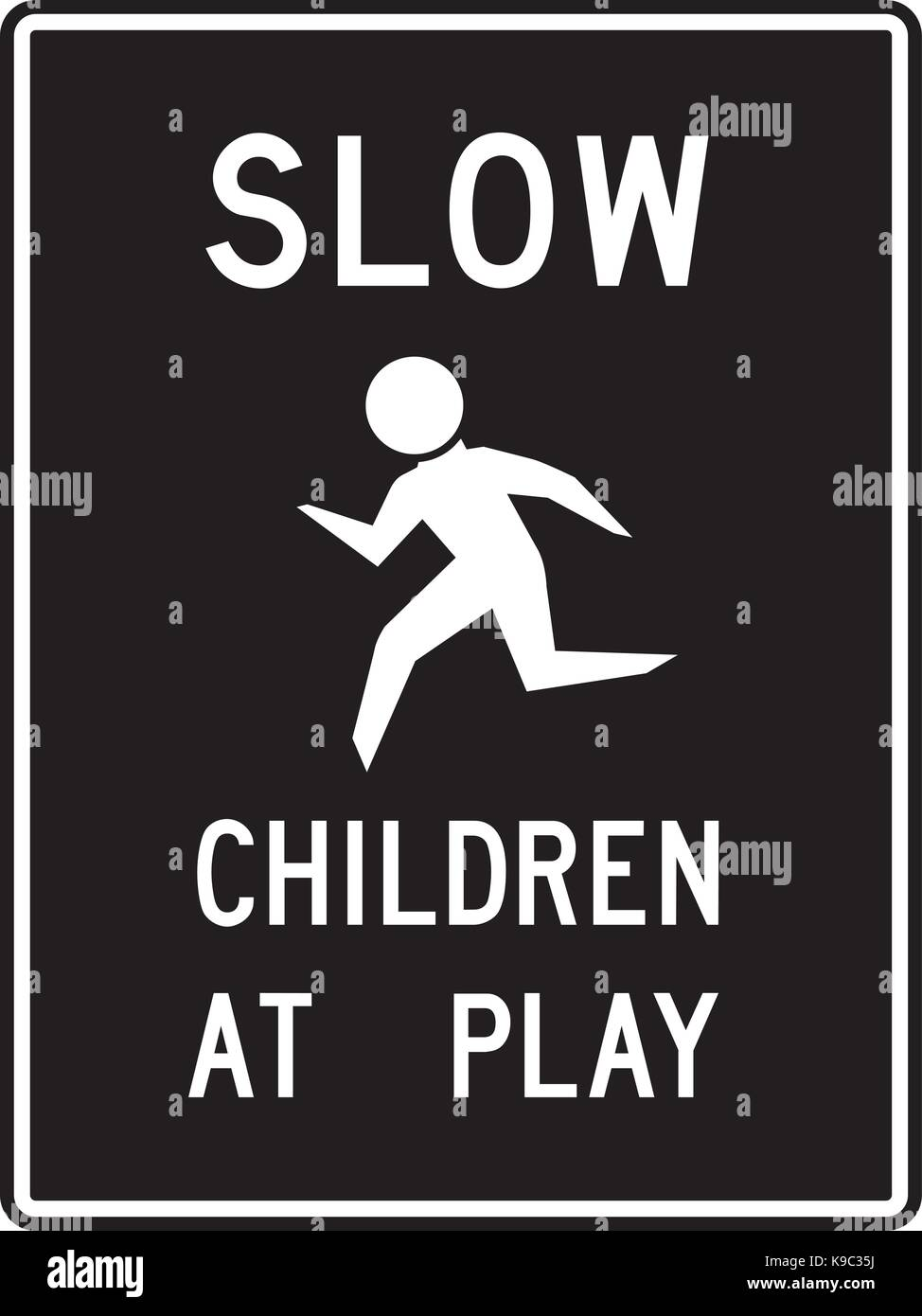 Children at play road information sign - Stock Image