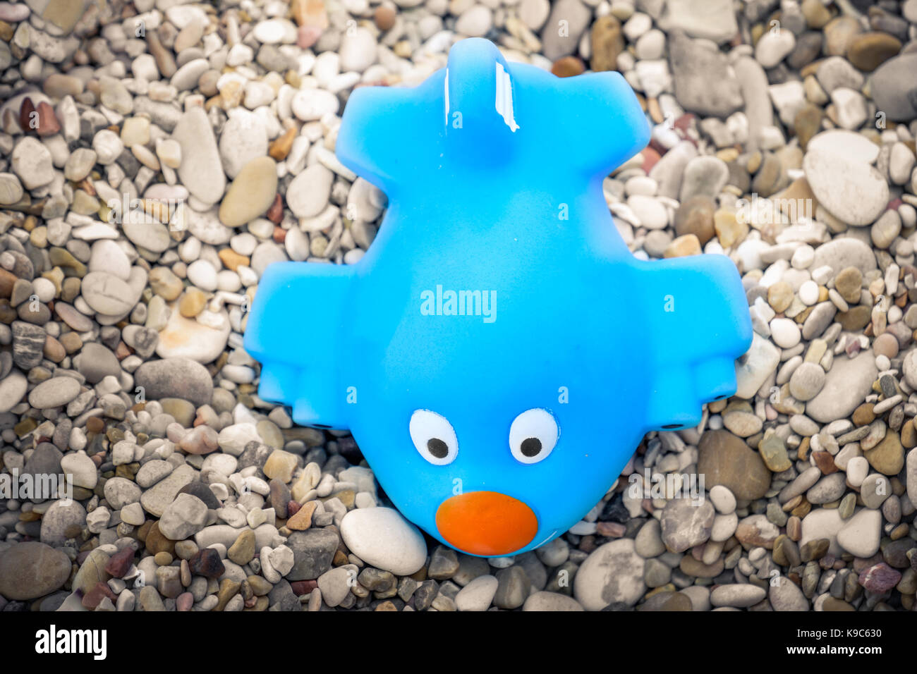 toy airplane blue toon plane - Stock Image