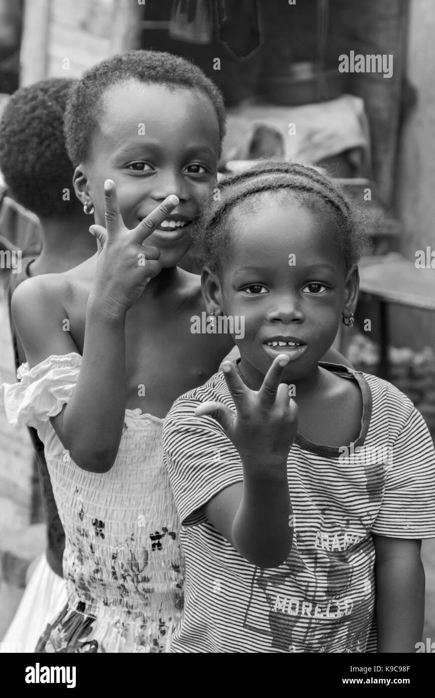 Accra, Ghana - December 28, 2016: happy children in a street in Accra, Ghana. - Stock Image