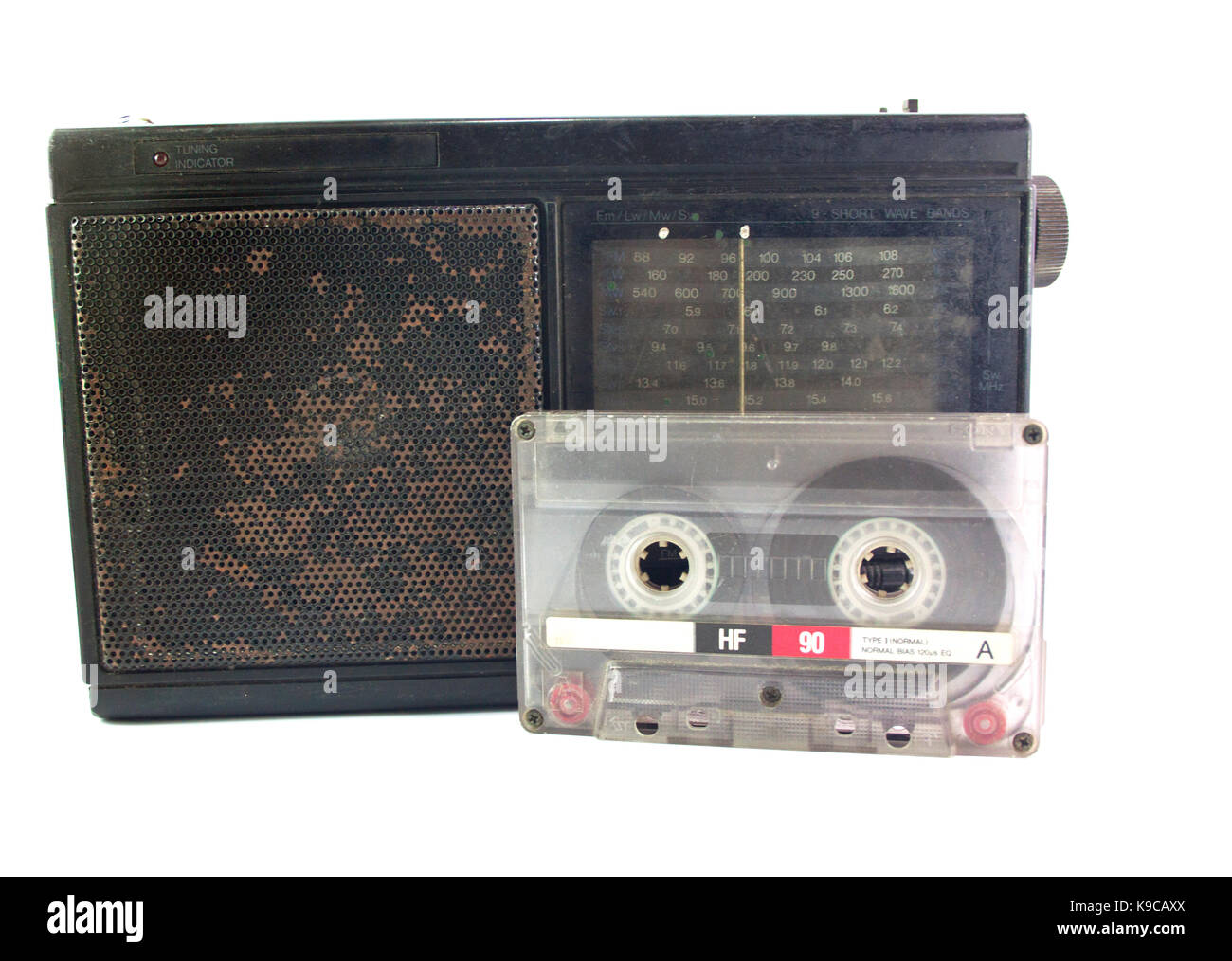 Old stereo with cassette tape vintage - Stock Image