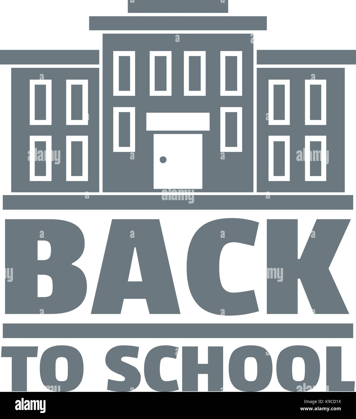 Back to school logo, simple gray style - Stock Image