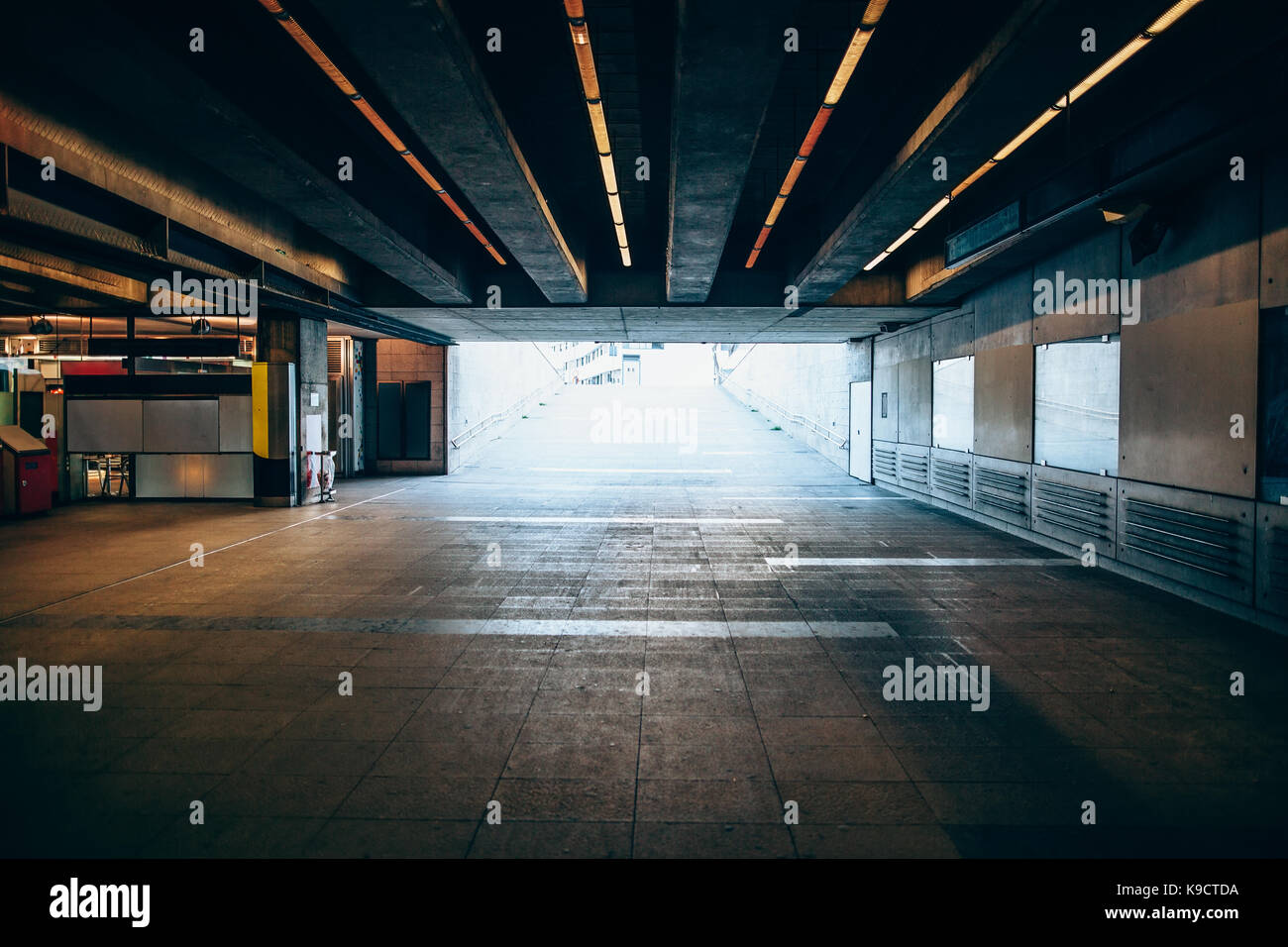 Exit from the underground metro. Light at the end of the tunnel concept - Stock Image